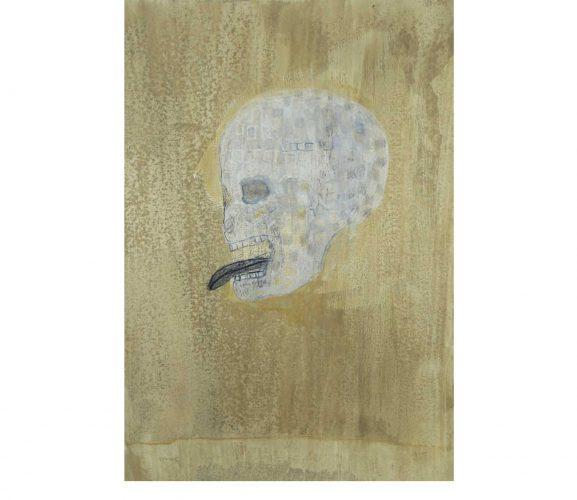 Schädel, Mischtechnik auf Papier, 29,7x21 cm, 2017