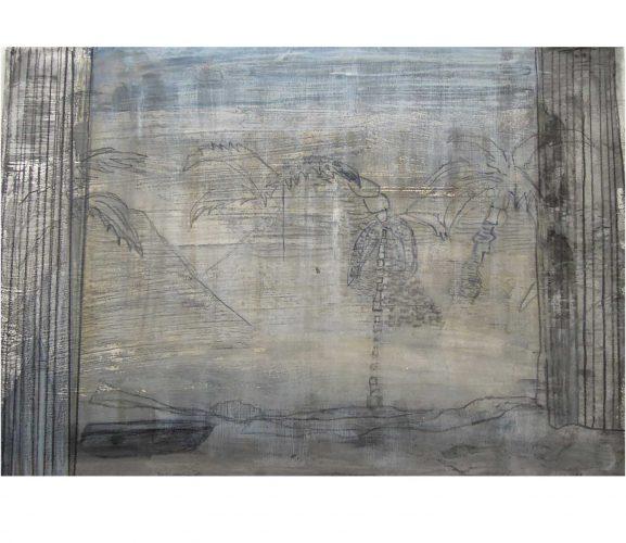 remote beach, Mischtechnik auf Papier, 29,7x 42 cm, 2016