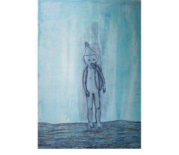 lone warrior, Mischtechnik auf Papier, 29,7x21 cm, 2017