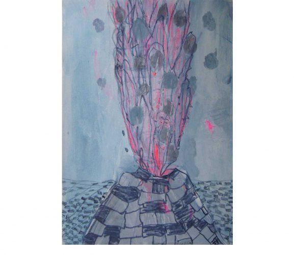 Eruption, Mischtechnik auf Papier, 29,7x21 cm, 2016
